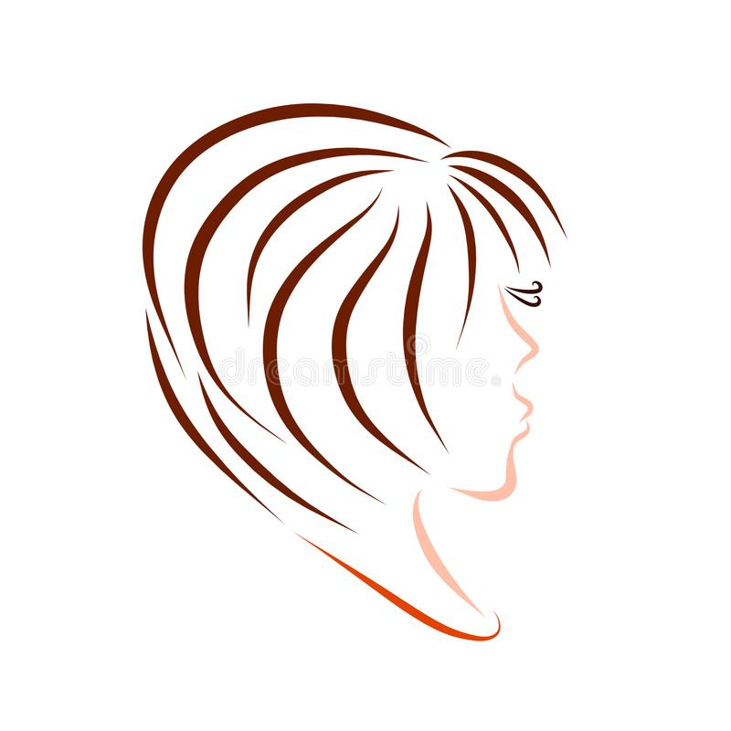 Young cute woman with a lush short hairdo royalty free illustration