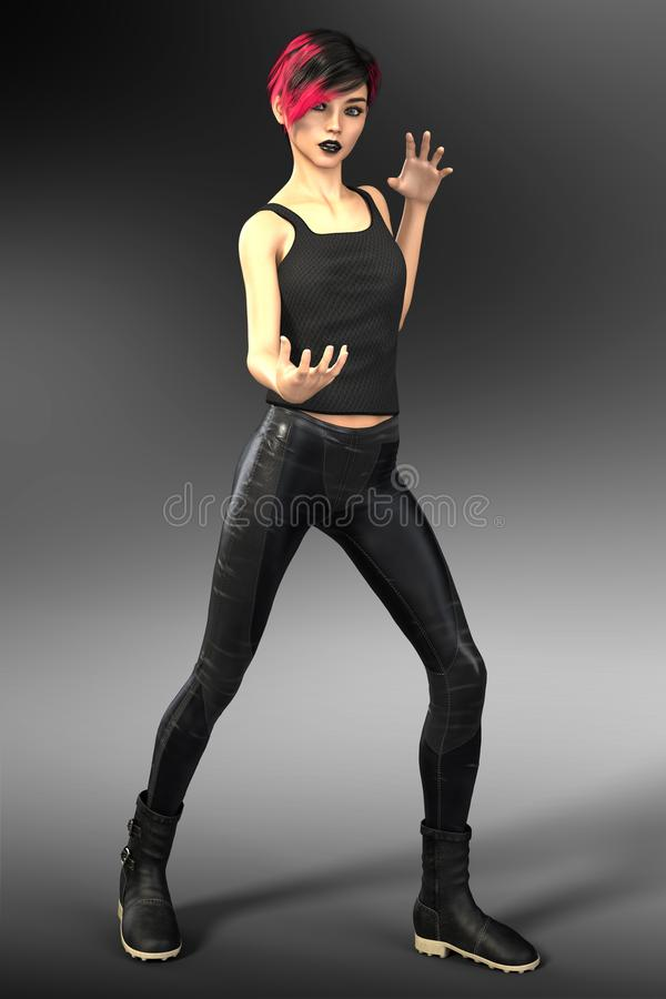 Magical Young Woman in Urban Fantasy Pose stock image