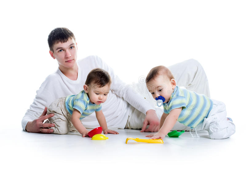 Download Young Dad With His Twin Sons Stock Image - Image: 13543349