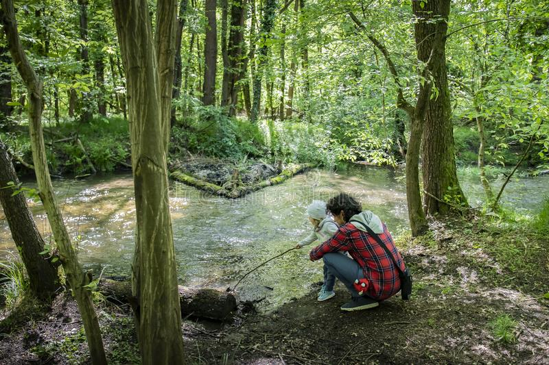 Young dad and toddler playing near a stream in green woods royalty free stock photography
