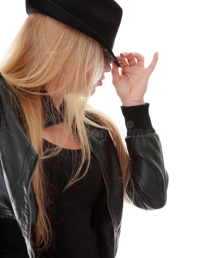Download Young dancer in black hat stock image. Image of expression - 16211905