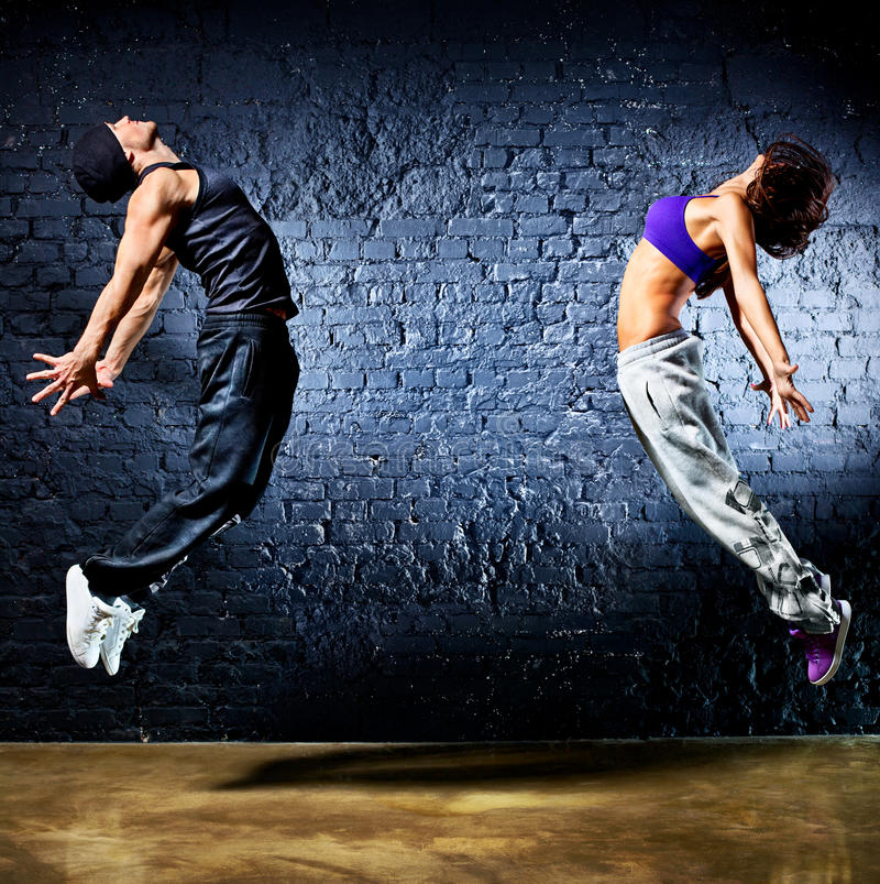 Young dancer couple jumping royalty free stock photo