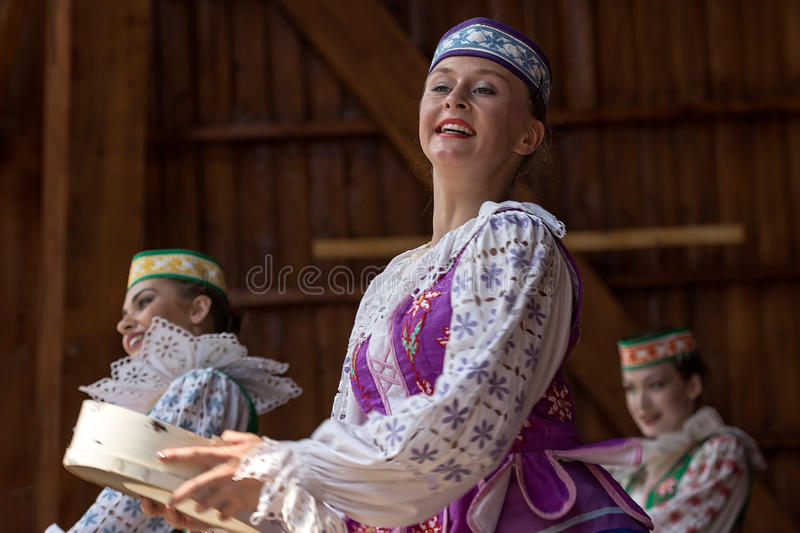 Young dancer girls from Belarus in traditional costume royalty free stock image