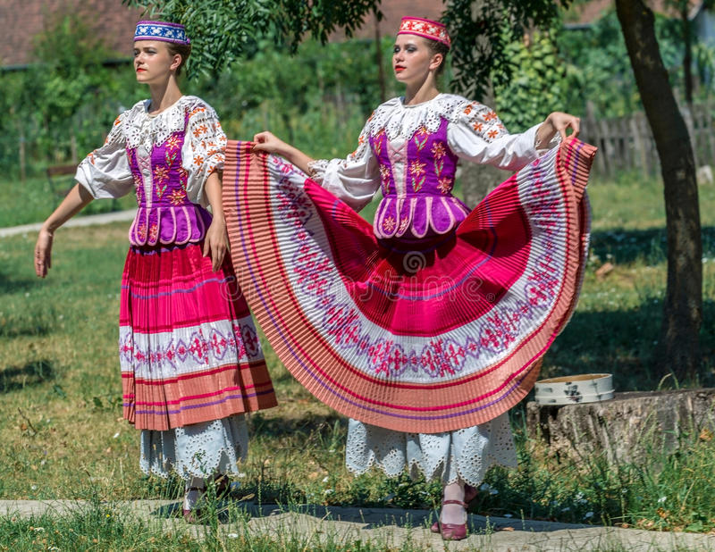 Young dancer girls from Belarus in traditional costume royalty free stock photography