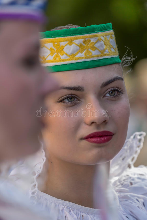 Young dancer girls from Belarus in traditional costume stock photography