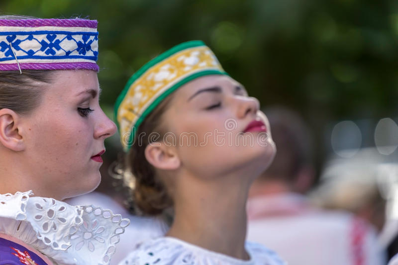 Young dancer girls from Belarus in traditional costume royalty free stock photo