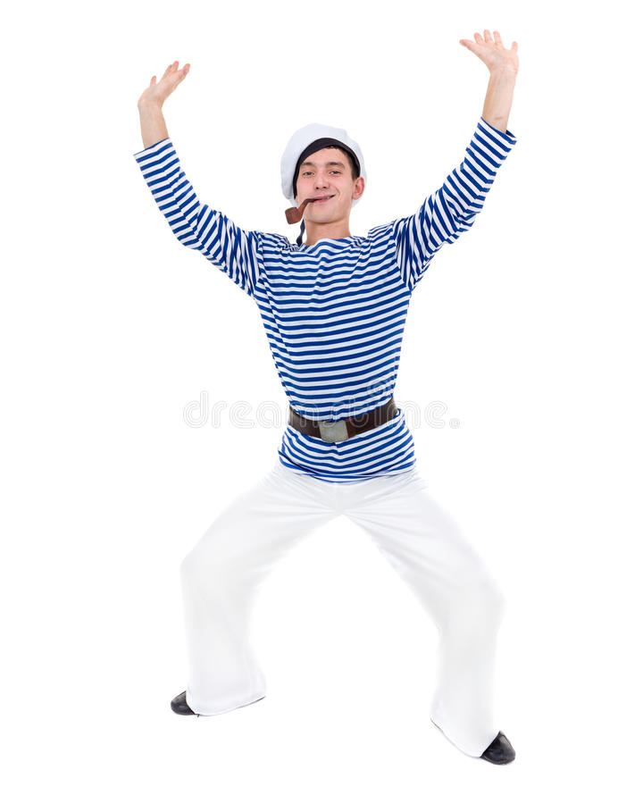 Young dancer man dressed as a sailor posing against isolated white in full length. royalty free stock images