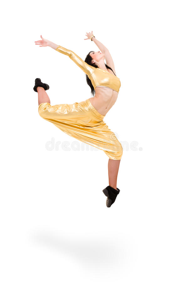 Young dancer woman jumping royalty free stock images
