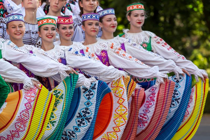 Young dancers from Belarus in traditional costume royalty free stock images