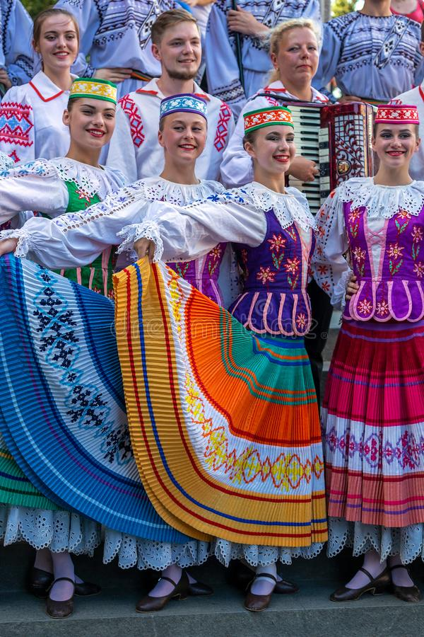 Young dancers from Belarus in traditional costume royalty free stock photography