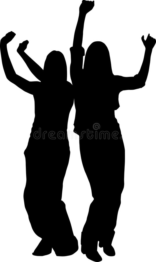 Young Dancers Silhouette vector illustration