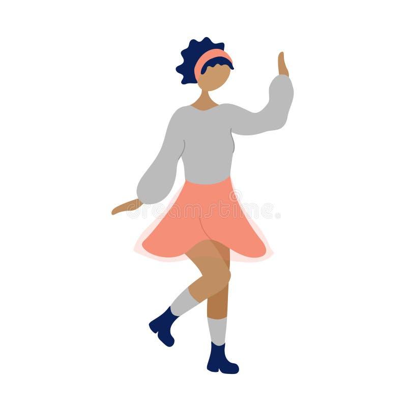 Young dancing tiny stylish black woman royalty free illustration