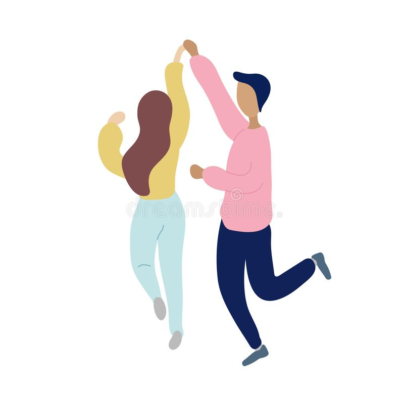 Young dancing tiny stylish people stock illustration