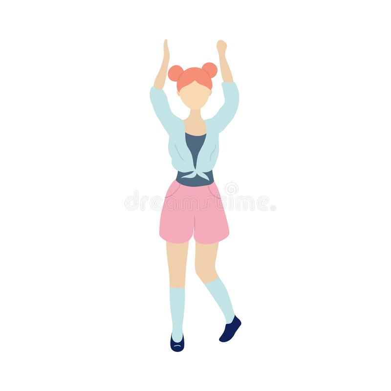Young dancing tiny stylish woman stock illustration