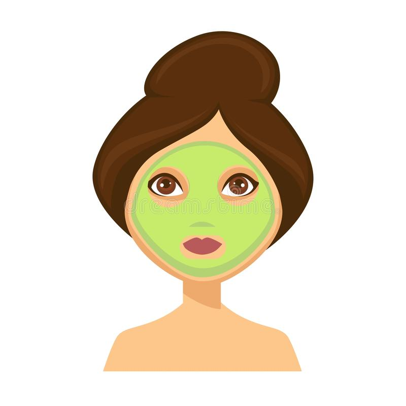 Young woman with green face mask and her hair up stock illustration