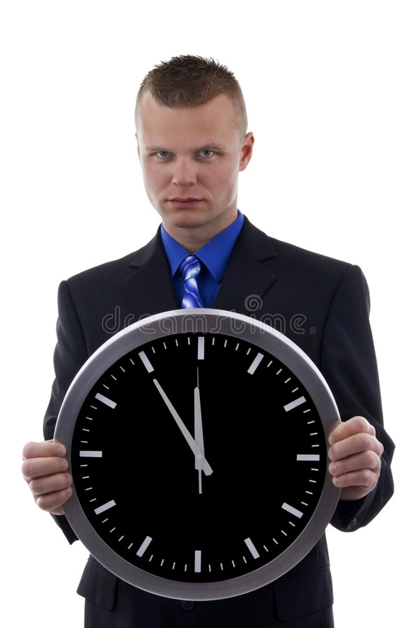 Young dealer in o'clock royalty free stock image