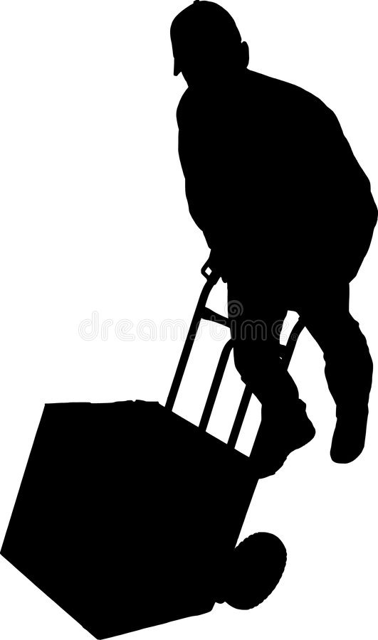 Young delivery man with his hand truck 01 royalty free illustration
