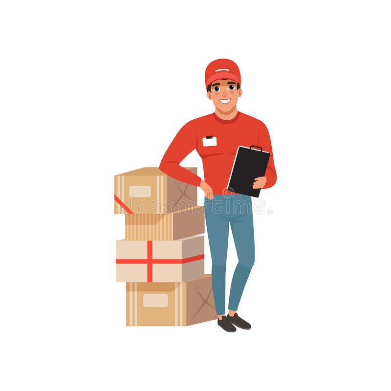 Young delivery man standing near stack of cardboard boxes with clip board in hand. Cartoon courier character in red cap stock illustration