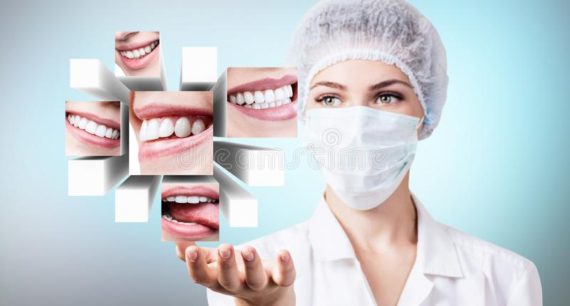 Young dentist doctor presents collage of healthy beautiful smiles. stock photos