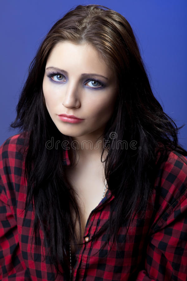 Download Young Depressed Girl In Red Shirt Look With Sad Stock Image - Image: 21357841