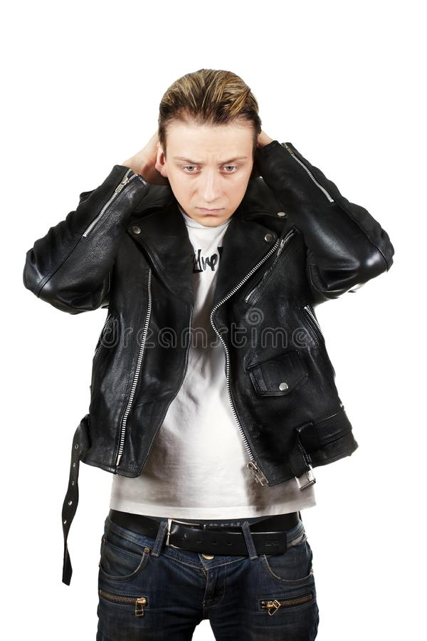 Download Young Depressed Man In Black Leather Stock Photo - Image of person, dramatic: 20656568