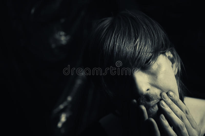 Young depressed man royalty free stock photos