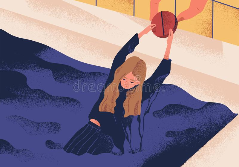 Young depressed woman drowning in pool and holding on to large pill. Concept of antidepressant saving girl from stock illustration