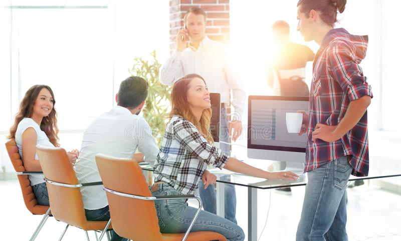 Young designers are working in a modern office royalty free stock images