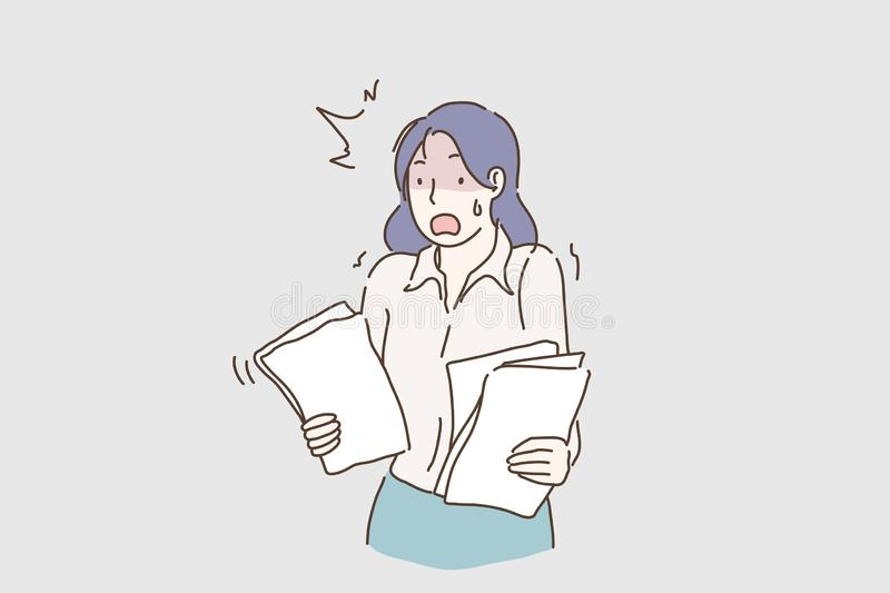 Young desperate and stressed business woman working overwhelmed holding paperwork looking crazy and anxious in job stock illustration