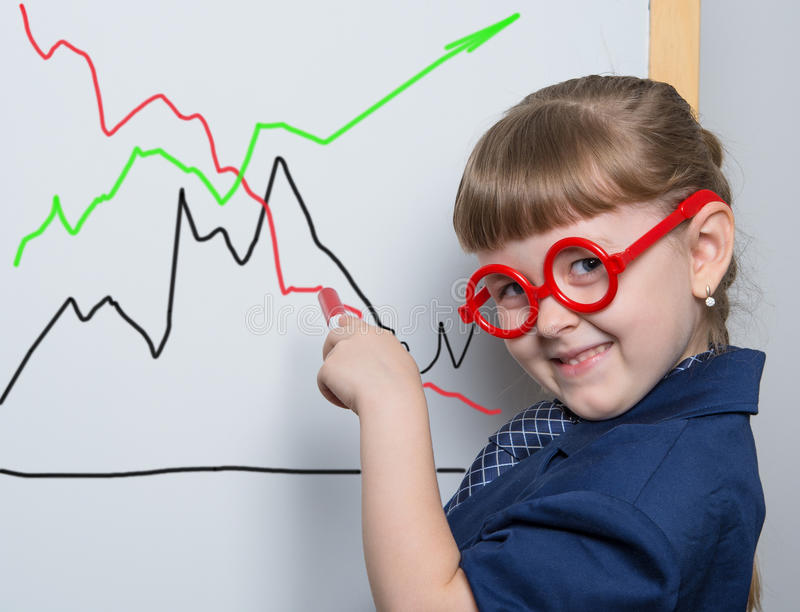 Young Director is dissatisfied. Little Director shows a graph royalty free stock images