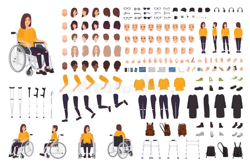 Young disabled woman in wheelchair constructor or DIY kit. Set of body parts, facial expressions, crutches, walking stock illustration