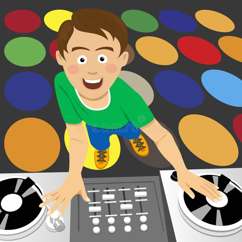 Young disk jockey for the vinyl disks and mixer in club. Young disk jockey for the vinyl disks and mixer in the club royalty free illustration