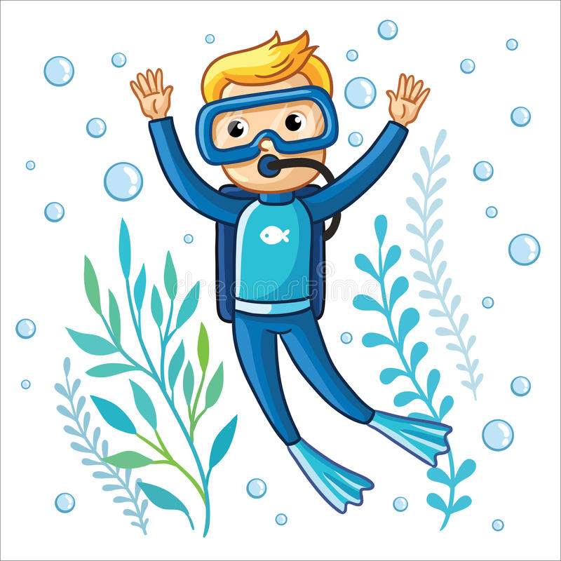 Young diver swims under water. royalty free illustration