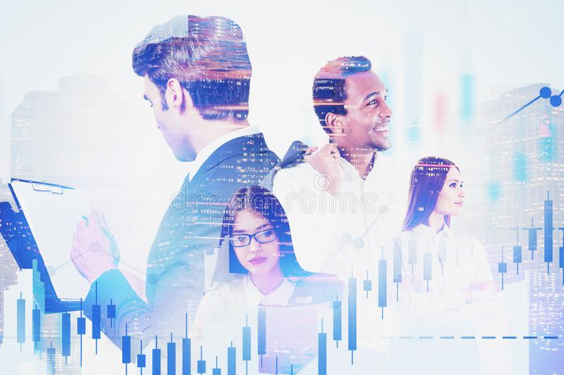 Young diverse business team in city, charts. Happy young diverse business team in city working together with double exposure of forex graphs. Concept of stock stock images