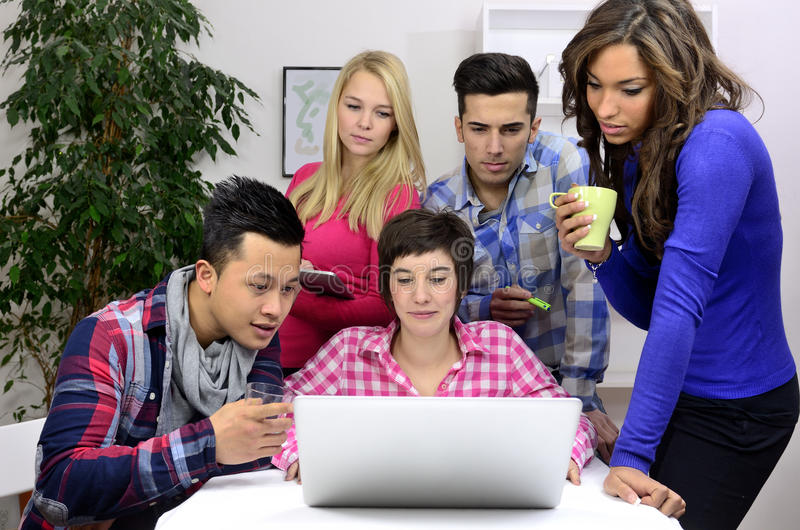 Young diverse team of students or employees stock photos