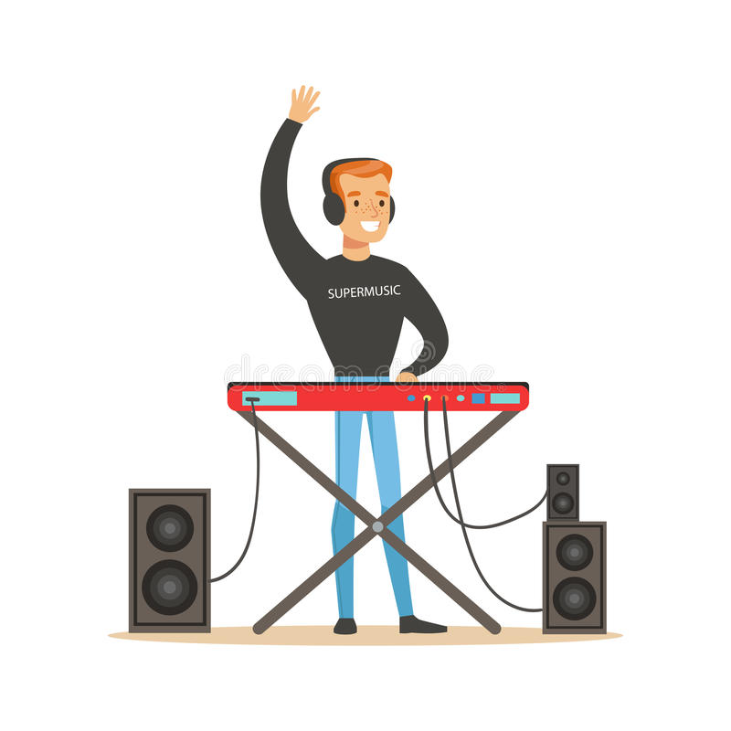 Young DJ playing some music vector Illustration royalty free illustration