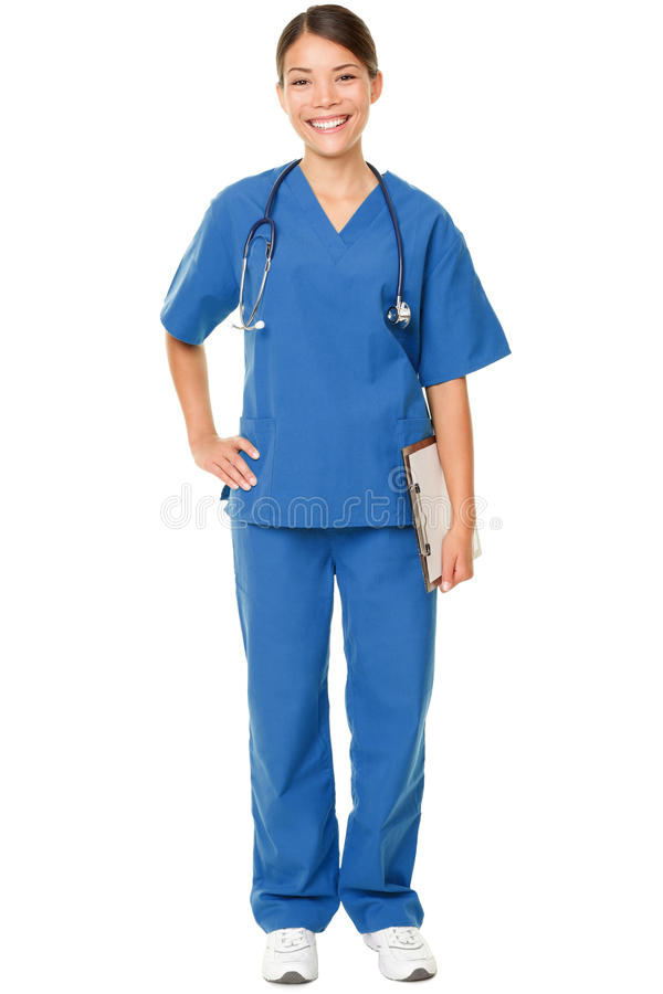 Young doctor in blue scrubs stock photo