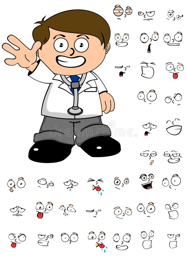 Young doctor cartoon expresion set. Young kid doctor cartoon expresion set in vector format vector illustration