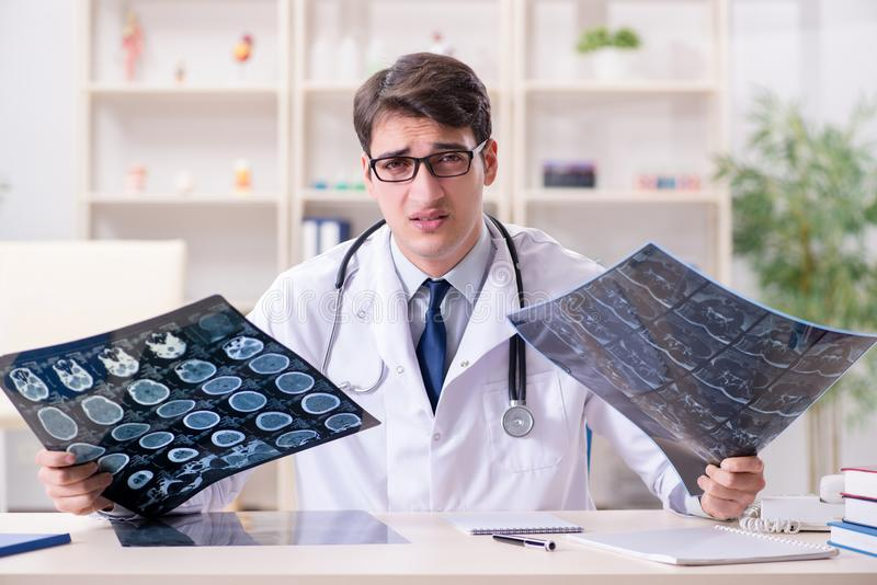 The young doctor looking at x-ray images in clinic. Young doctor looking at x-ray images in clinic royalty free stock images
