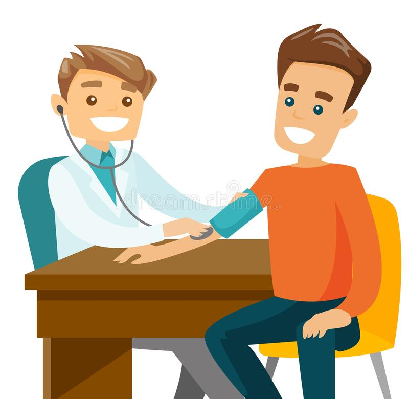 Young doctor measuring blood pressure of patient. stock illustration