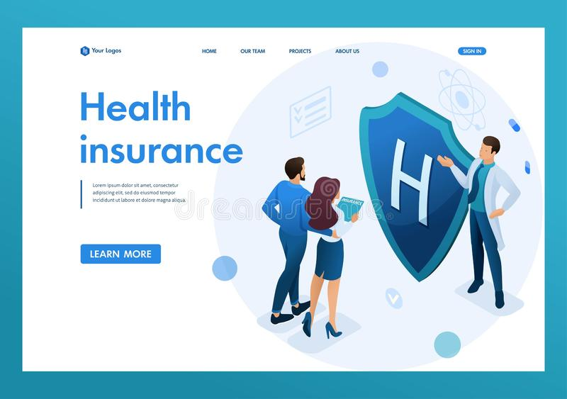 Young doctor offers health insurance to the couple. Concept of health insurance 3d isometric. Landing page concepts and web design stock illustration