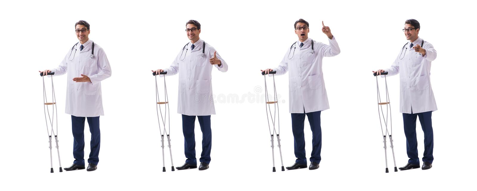 The young doctor physician standing walking isolated on white background royalty free stock photography