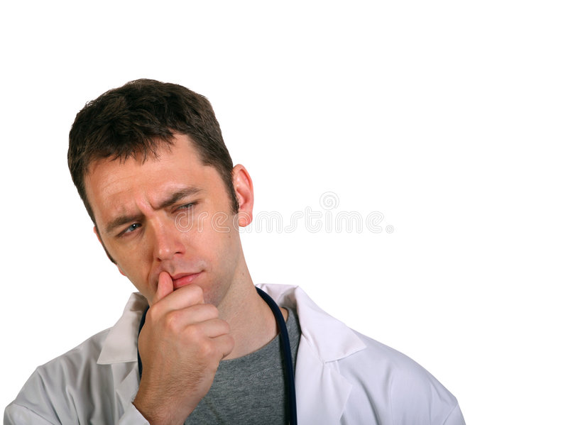Download Young Doctor Pondering A Problem Stock Image - Image of young, handsome: 5600559