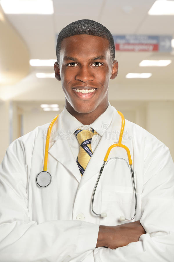 Young Doctor Smiling Inside Hospital stock images