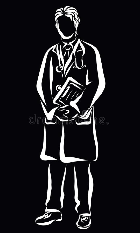 Young doctor standing with docsent in hands and holding a stethoscope stock illustration