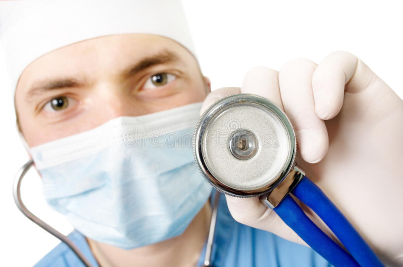 Young doctor with a stethoscope in a hand royalty free stock photos