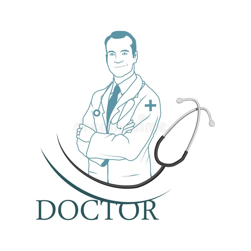 Young doctor with stethoscope. Doctor logo. Medical concept royalty free illustration