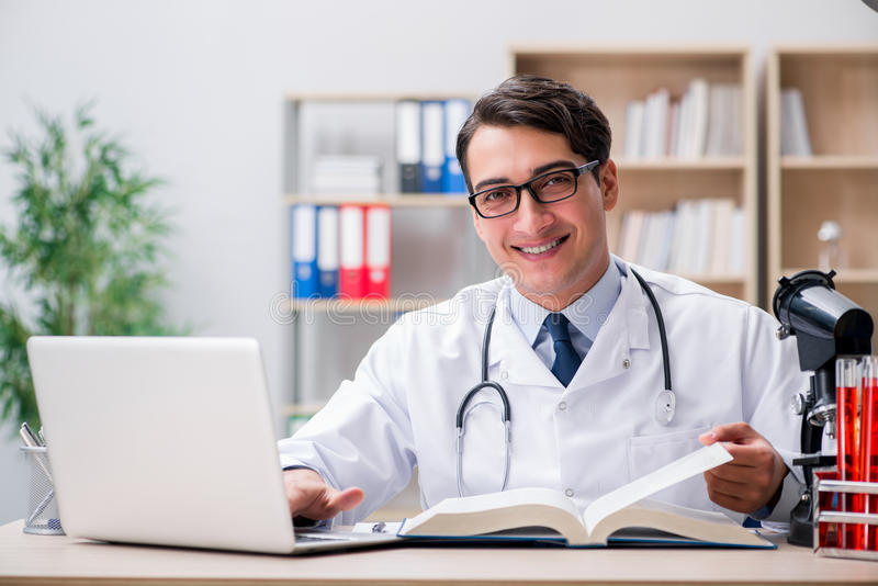 The young doctor studying medical education royalty free stock image