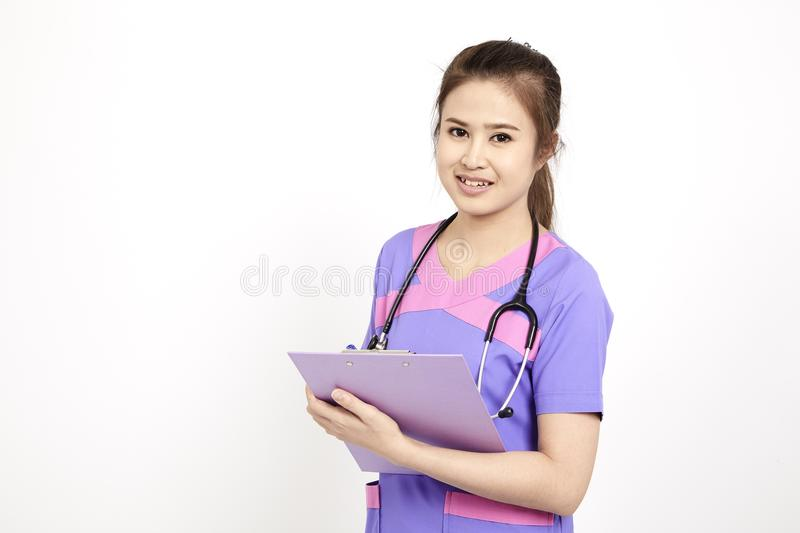 Female pediatrician at her office royalty free stock image