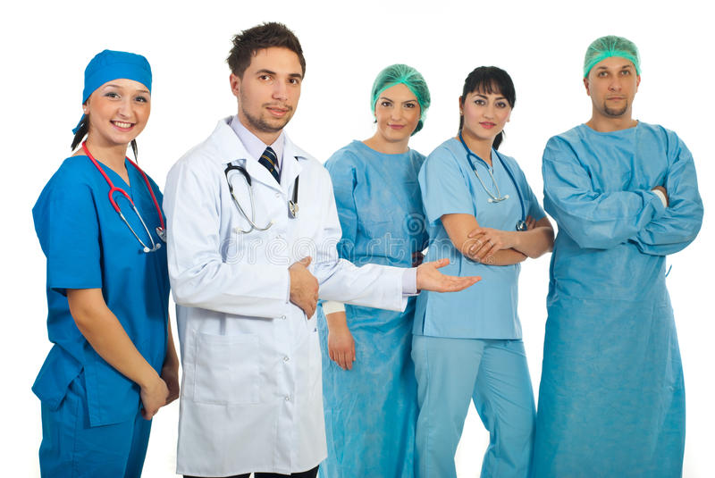 Young Doctors Presenting Their Team Royalty Free Stock Image